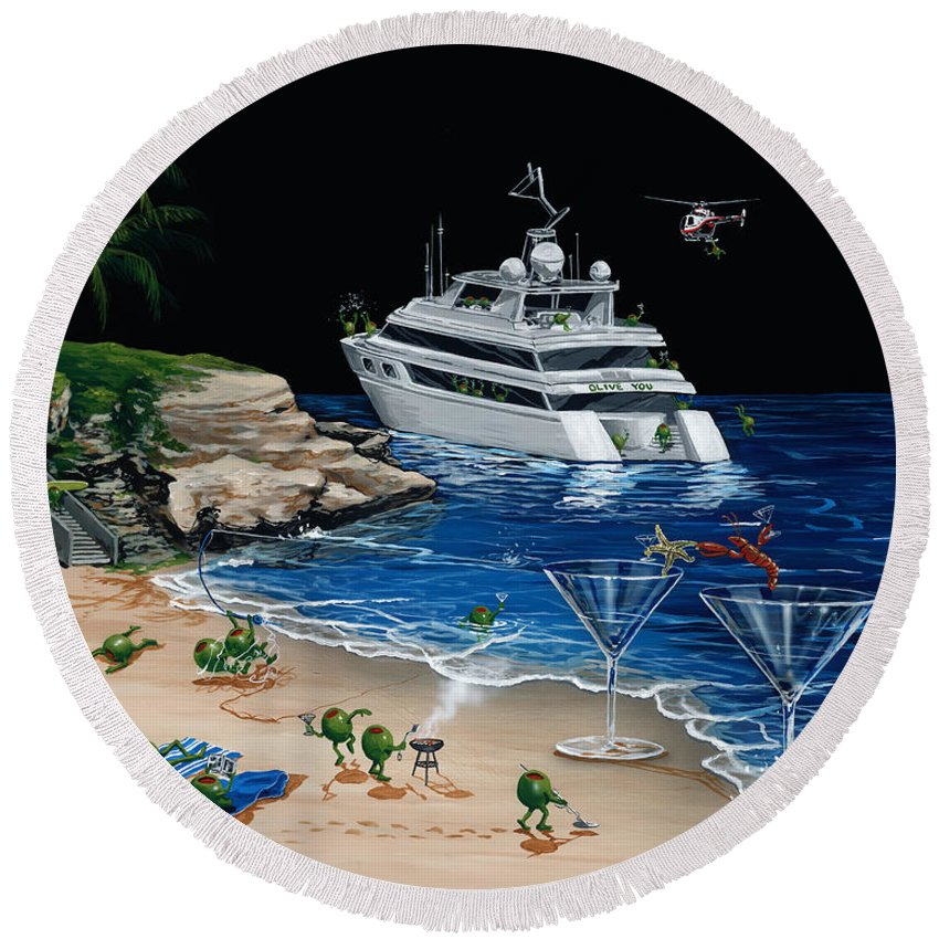 Helicopter Round Beach Towels