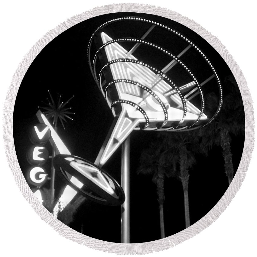 Martini Round Beach Towel featuring the photograph Martini Sign In Vegas B-w by Anita Burgermeister