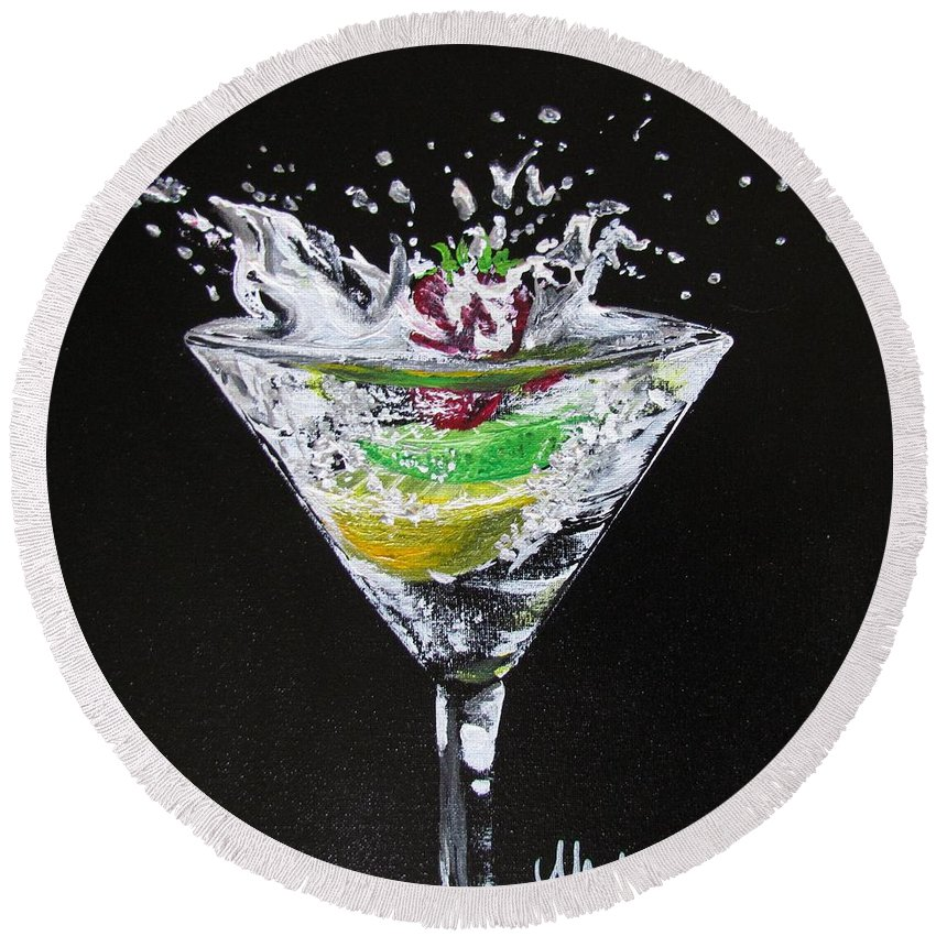 Martini Round Beach Towel featuring the painting Martini Splash by Mandy Joy