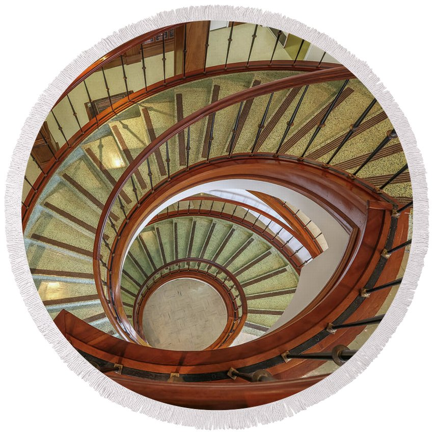 Ul Round Beach Towel featuring the photograph Marttin Hall Spiral Stairway by Gregory Daley MPSA