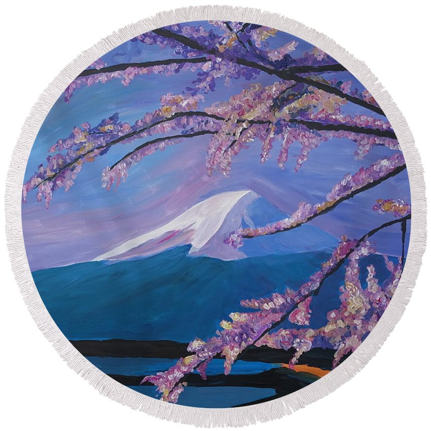 Mount Fuji Round Beach Towel featuring the painting Marvellous Mount Fuji With Cherry Blossom In Japan by M Bleichner