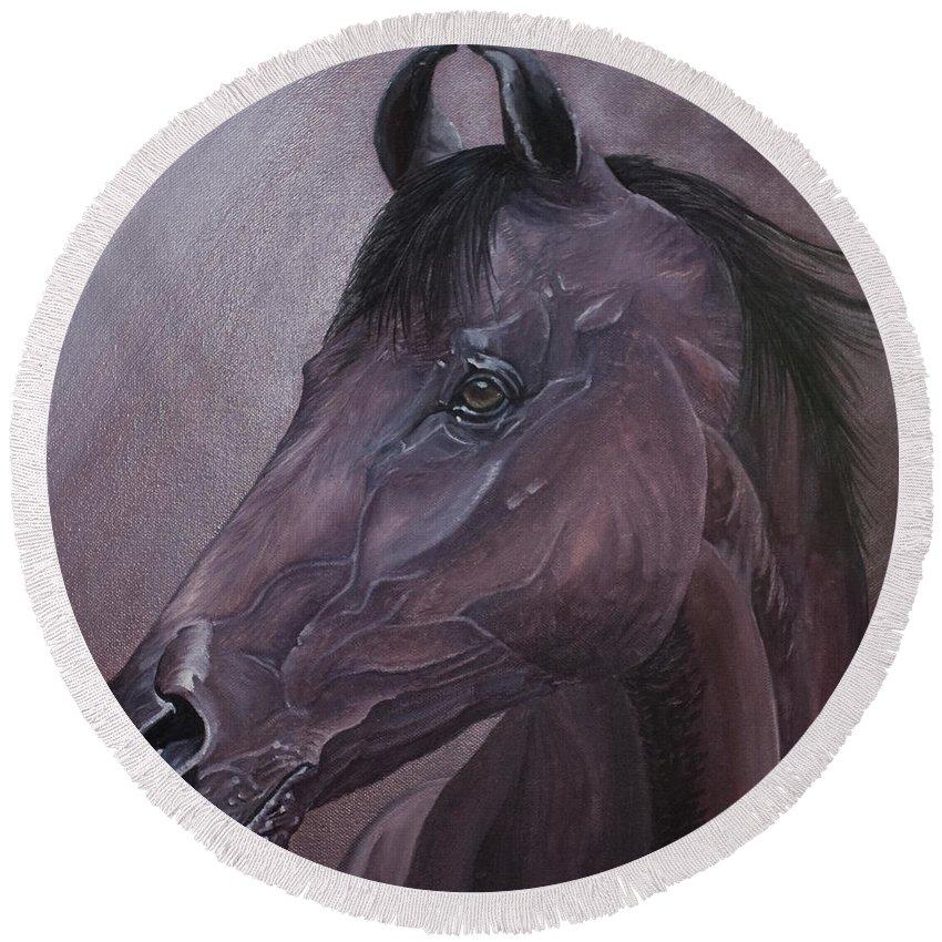Horse Marwari Equine Purple Round Beach Towel featuring the painting Marwari Purple by Pauline Sharp