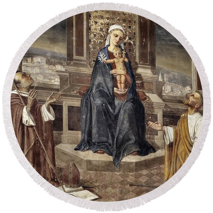 Italy Italian Mary Jesus Men Fresco Religious Religion Paint Painted Old Ancient Catholic Round Beach Towel featuring the photograph Mary And Baby Jesus by Marilyn Hunt