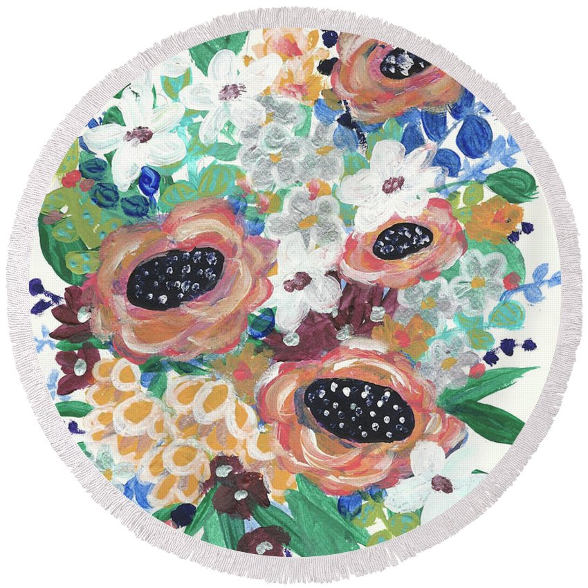 Abstract Floral Painting Round Beach Towel featuring the painting Mary Delores by Katie Barnes