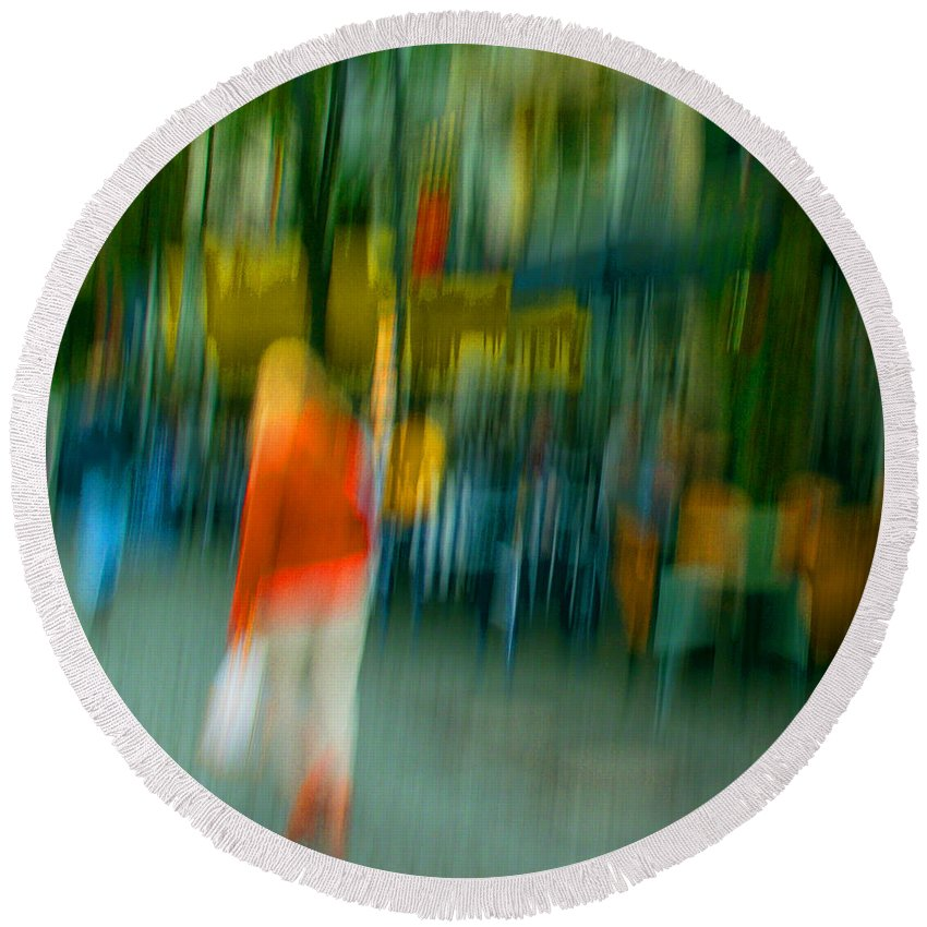Abstract Round Beach Towel featuring the photograph Mary Jane by Dorit Fuhg