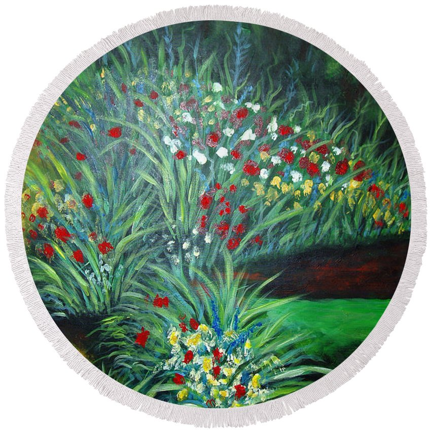 Landscape Round Beach Towel featuring the painting Maryann's Garden 3 by Nancy Mueller