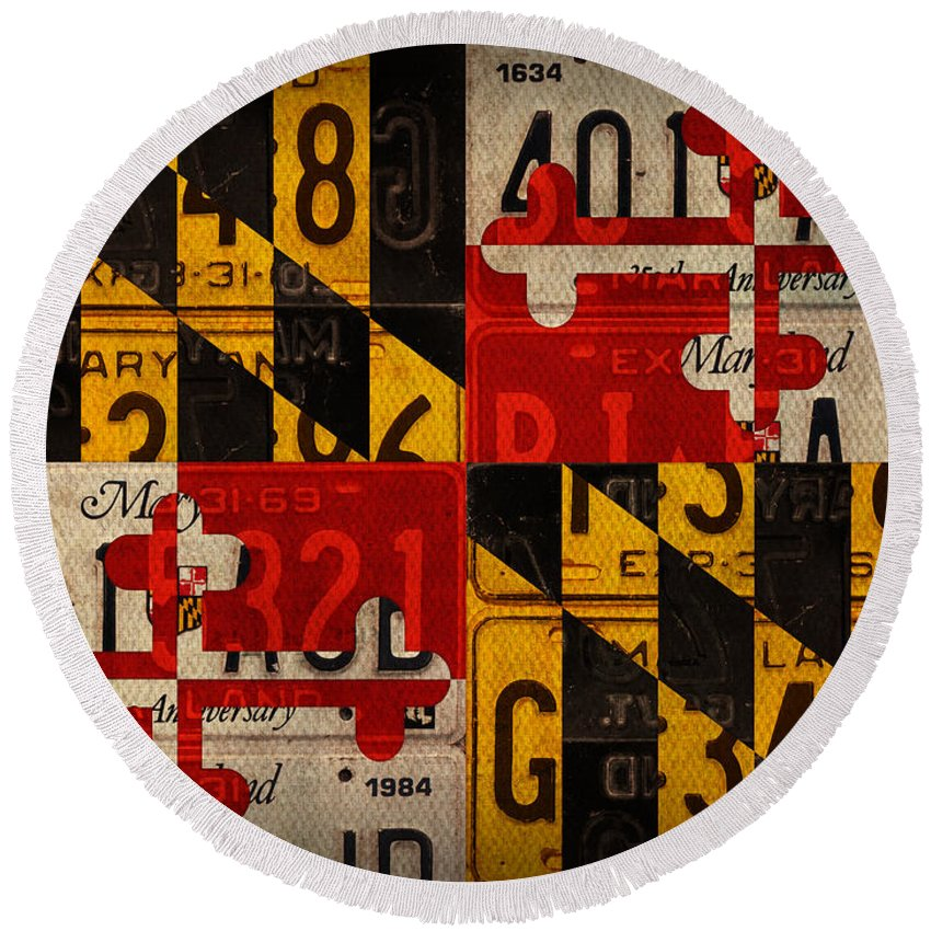 maryland state flag recycled vintage license plate art round beach