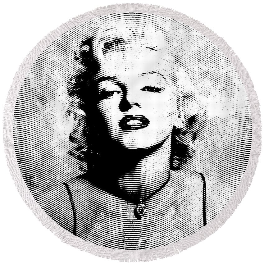 Marylin Round Beach Towel featuring the digital art Marilyn Monroe - 04a by Variance Collections