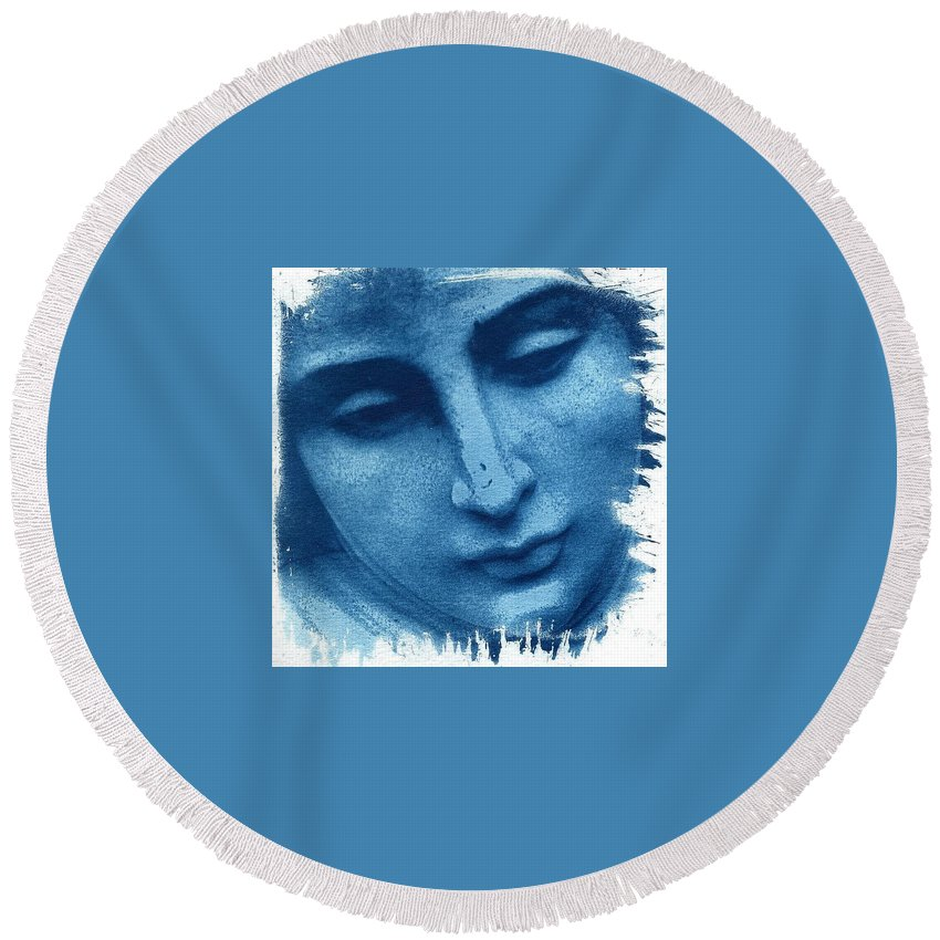 Blue Round Beach Towel featuring the photograph Marys Blues by Jane Linders
