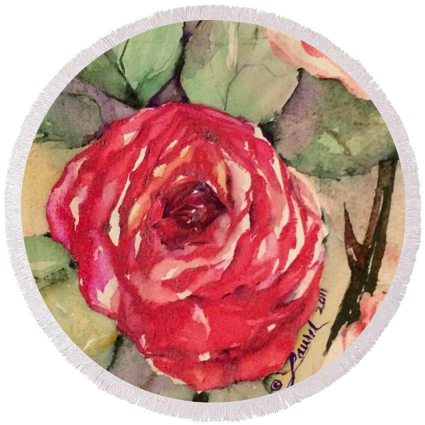 Florals Round Beach Towel featuring the painting Ma's Roses 3 by Laurel Adams