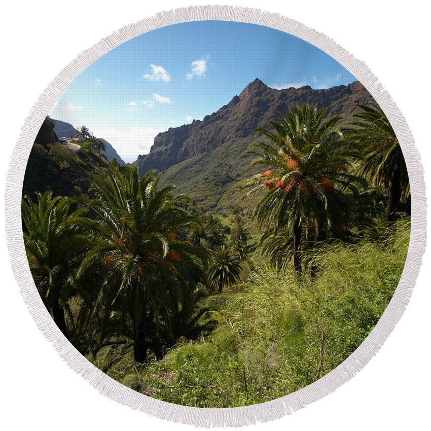 Landscape Round Beach Towel featuring the photograph Masca Valley And Parque Rural De Teno 2 by Jouko Lehto