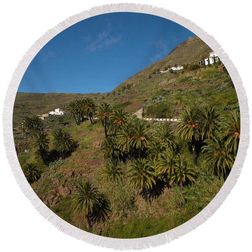 Landscape Round Beach Towel featuring the photograph Masca Valley And Parque Rural De Teno 3 by Jouko Lehto