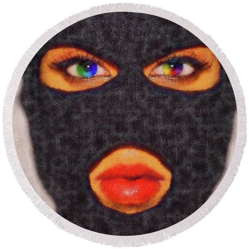 Adult Round Beach Towel featuring the painting Mask by Leonardo Digenio