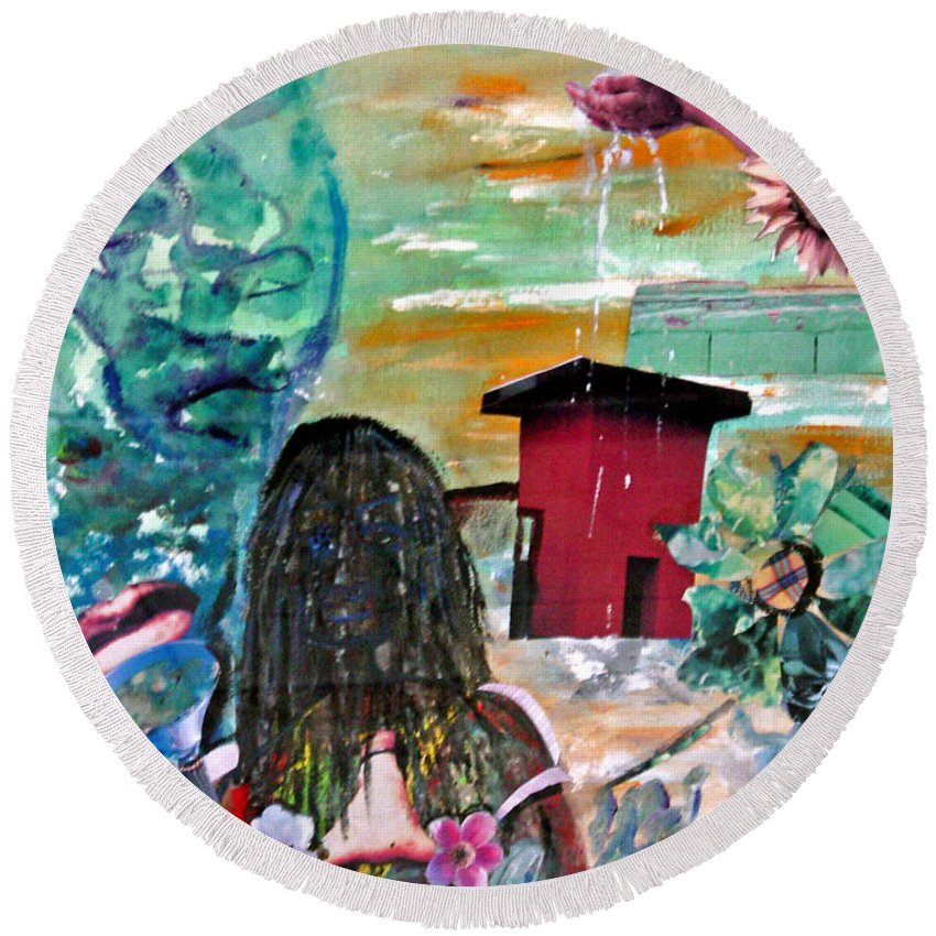 Water Round Beach Towel featuring the painting Masks Of Life by Peggy Blood