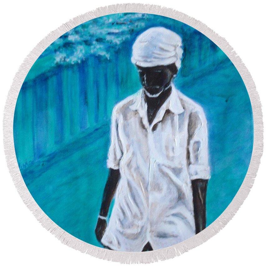 Usha Round Beach Towel featuring the painting Mason by Usha Shantharam