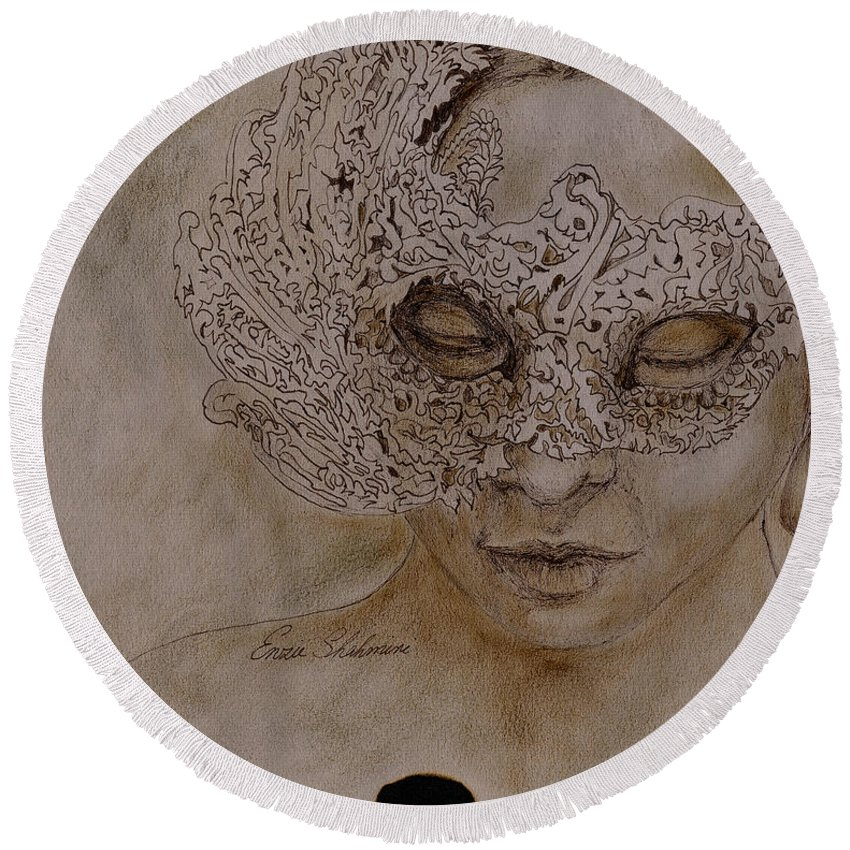 Mask Round Beach Towel featuring the drawing Masquerade by Portraits By NC