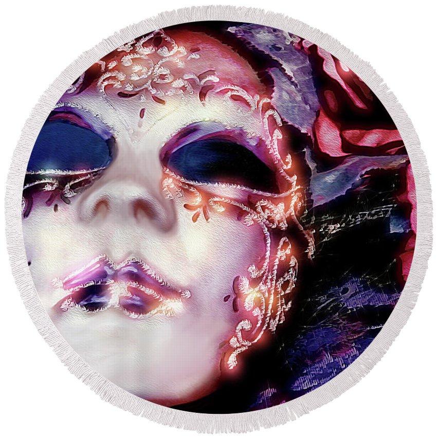 Mask Round Beach Towel featuring the digital art Masquerade by Pennie McCracken