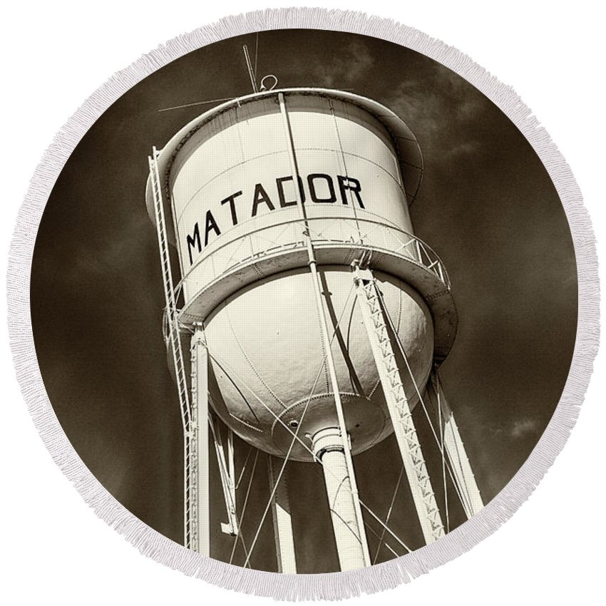 Water Tower Round Beach Towel featuring the photograph Matador Texas Water Tower by Stephen Stookey