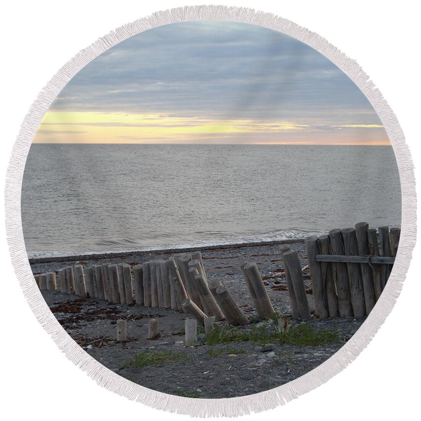 Seascape Round Beach Towel featuring the photograph Matane In The Morning... by Line Gagne