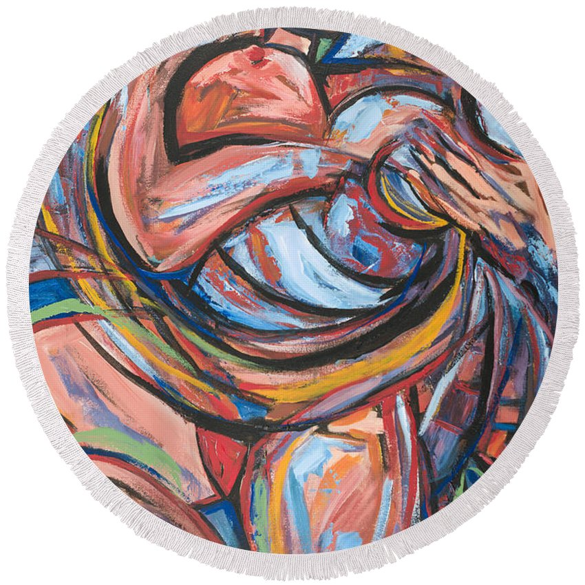 Ecuador Round Beach Towel featuring the painting Maternidad by Larissa Oksman