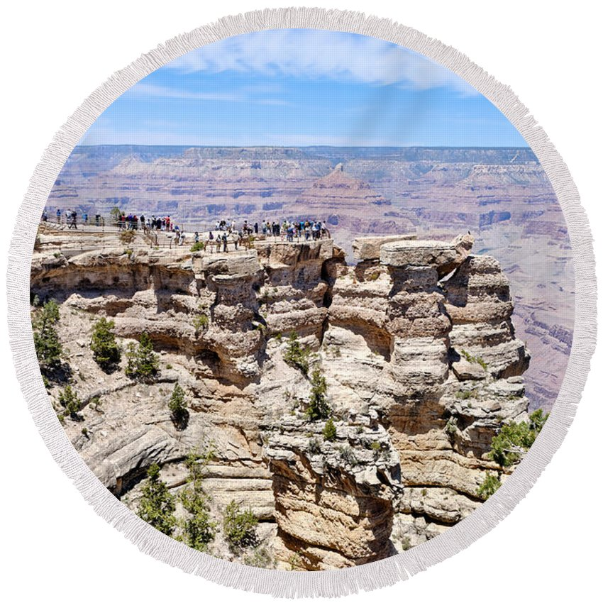 Mather Point Round Beach Towel featuring the photograph Mather Point At The Grand Canyon by Julie Niemela