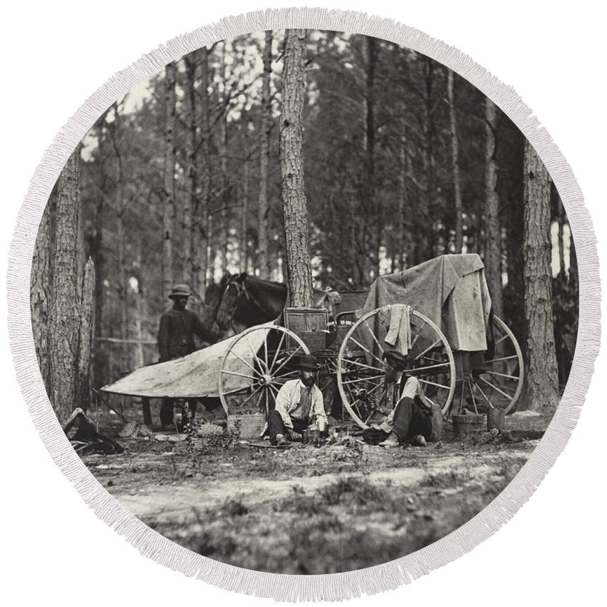 1 Animal Round Beach Towel featuring the photograph Mathew Brady Wagon by Underwood Archives