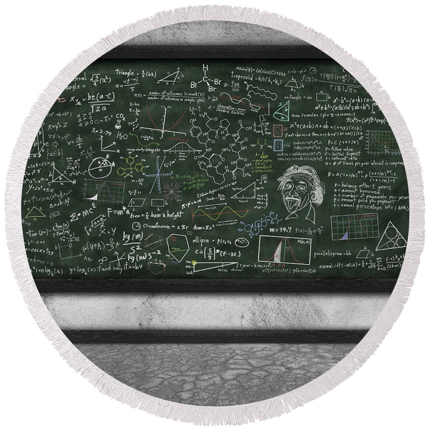 Algebra Round Beach Towel featuring the photograph Maths Formula On Chalkboard by Setsiri Silapasuwanchai