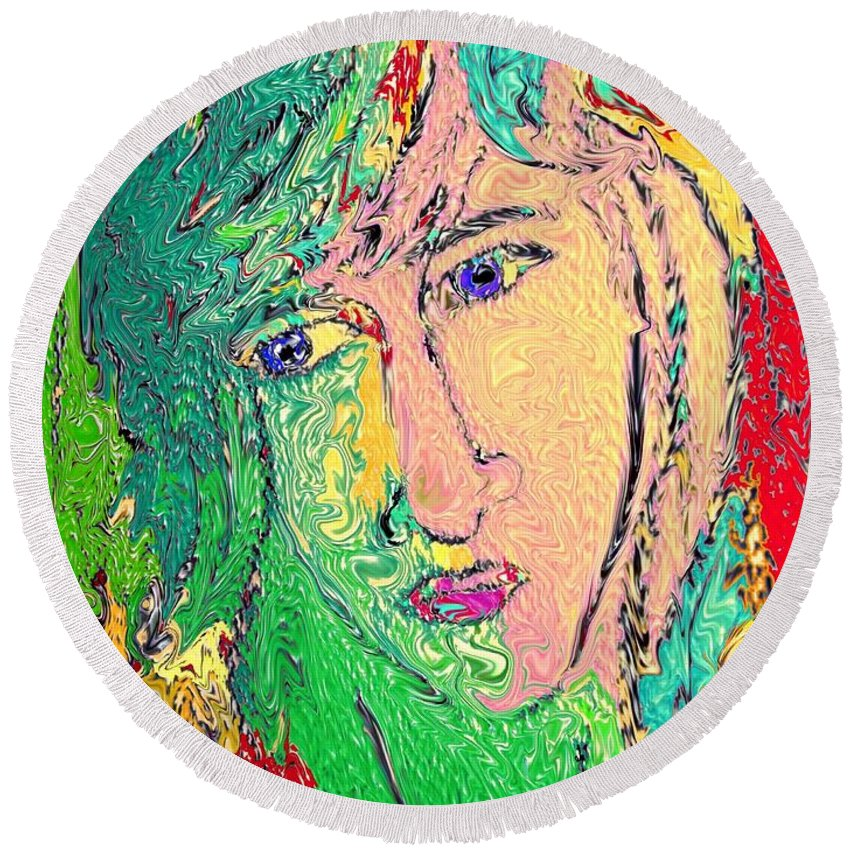 Digital Art Round Beach Towel featuring the digital art Matisse Inspiration by Donna Blackhall