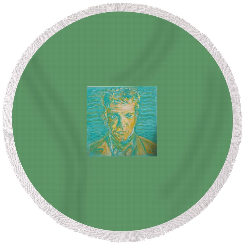 Damon Matt Round Beach Towel featuring the painting Matt Damon by Todd Artist
