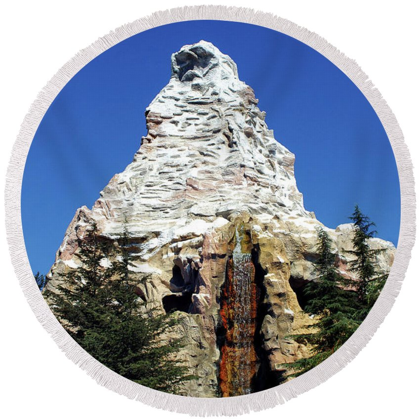 Matterhorn Disneyland Round Beach Towel featuring the photograph Matterhorn Disneyland by Mariola Bitner