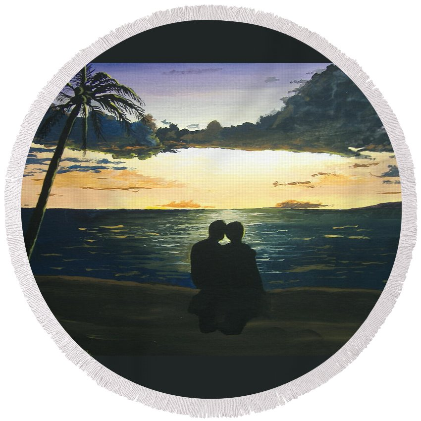 Hawaii Round Beach Towel featuring the painting Maui Beach Sunset by Norm Starks