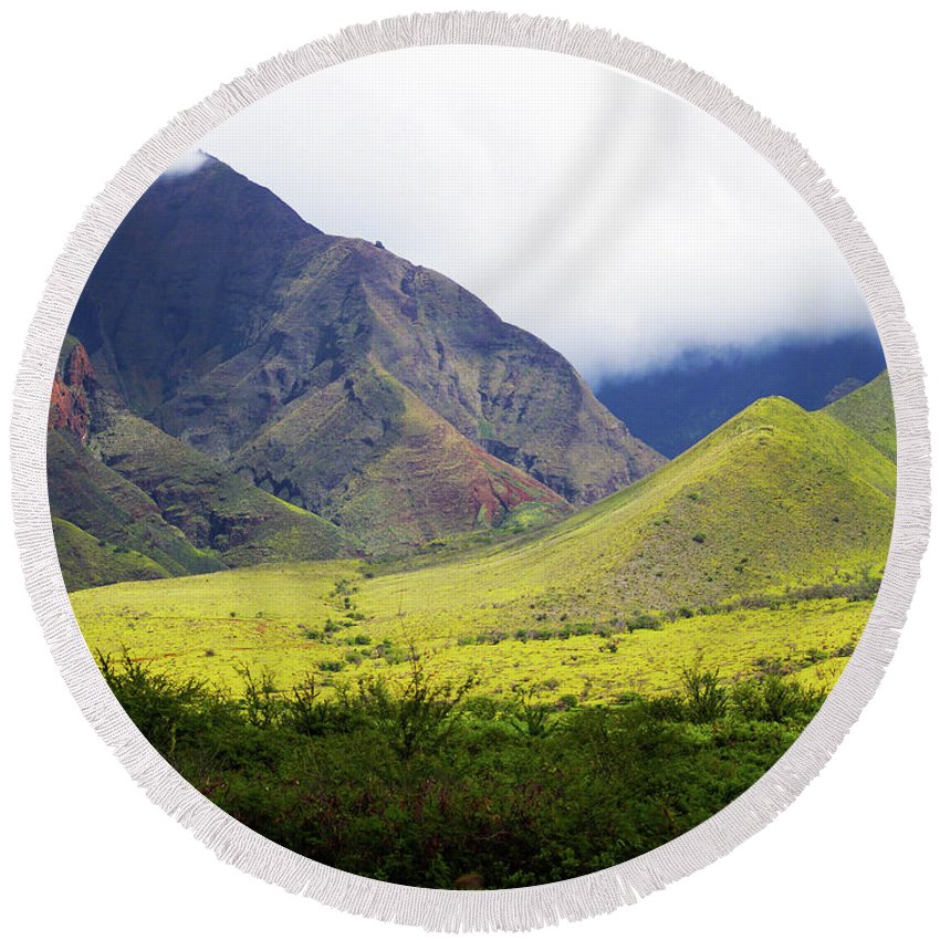Fine Art Photography Round Beach Towel featuring the photograph Maui Mountains by Patricia Griffin Brett