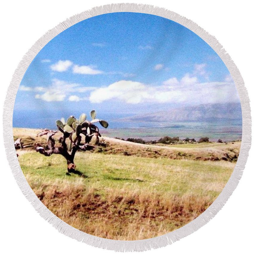 1986 Round Beach Towel featuring the photograph Maui Upcountry by Will Borden