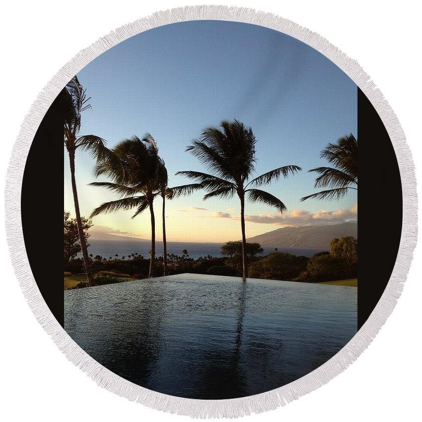 Maui Round Beach Towel featuring the photograph Maui's Magic by Pamela Bushnell