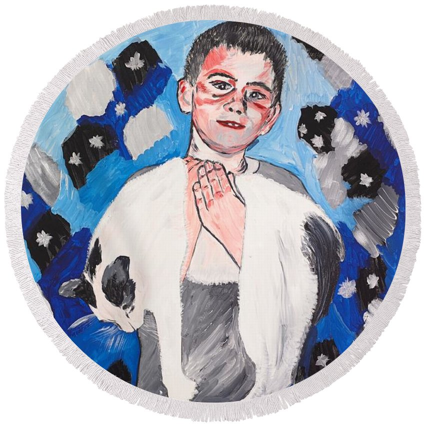 Portrait Round Beach Towel featuring the painting Max Holding Snowflake by Valerie Ornstein