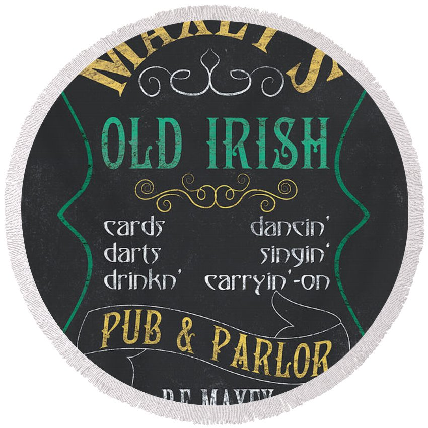 Beer Round Beach Towel featuring the mixed media Maxey's Old Irish Pub by Debbie DeWitt