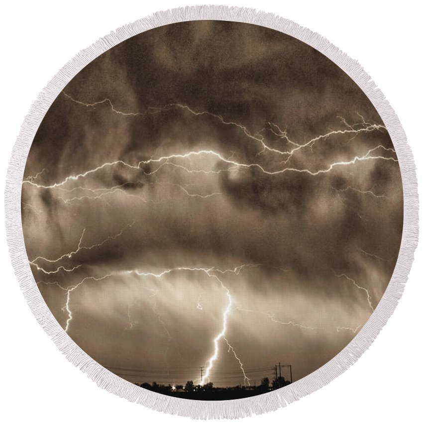 Hdr Round Beach Towel featuring the photograph May Showers - Lightning Thunderstorm Sepia Hdr by James BO Insogna