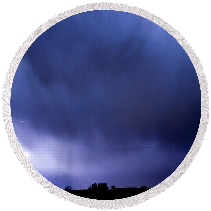 Bo Insogna Round Beach Towel featuring the photograph May Showers 3 In Color - Lightning Thunderstorm 5-10-2011 Boulde by James BO Insogna
