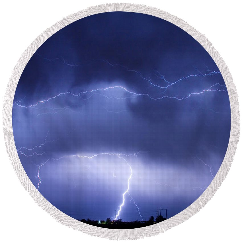 james Insogna Round Beach Towel featuring the photograph May Showers - Lightning Thunderstorm 5-10-2011 by James BO Insogna