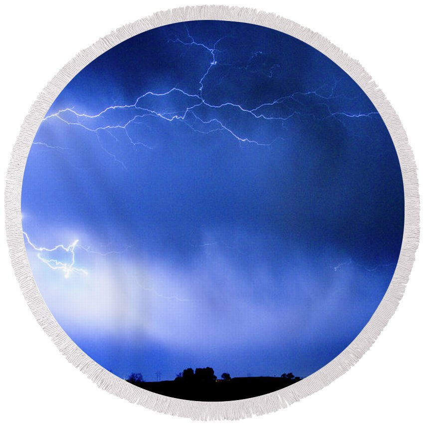 Bo Insogna Round Beach Towel featuring the photograph May Showers Two In Color - Lightning Thunderstorm 5-10-2011 by James BO Insogna