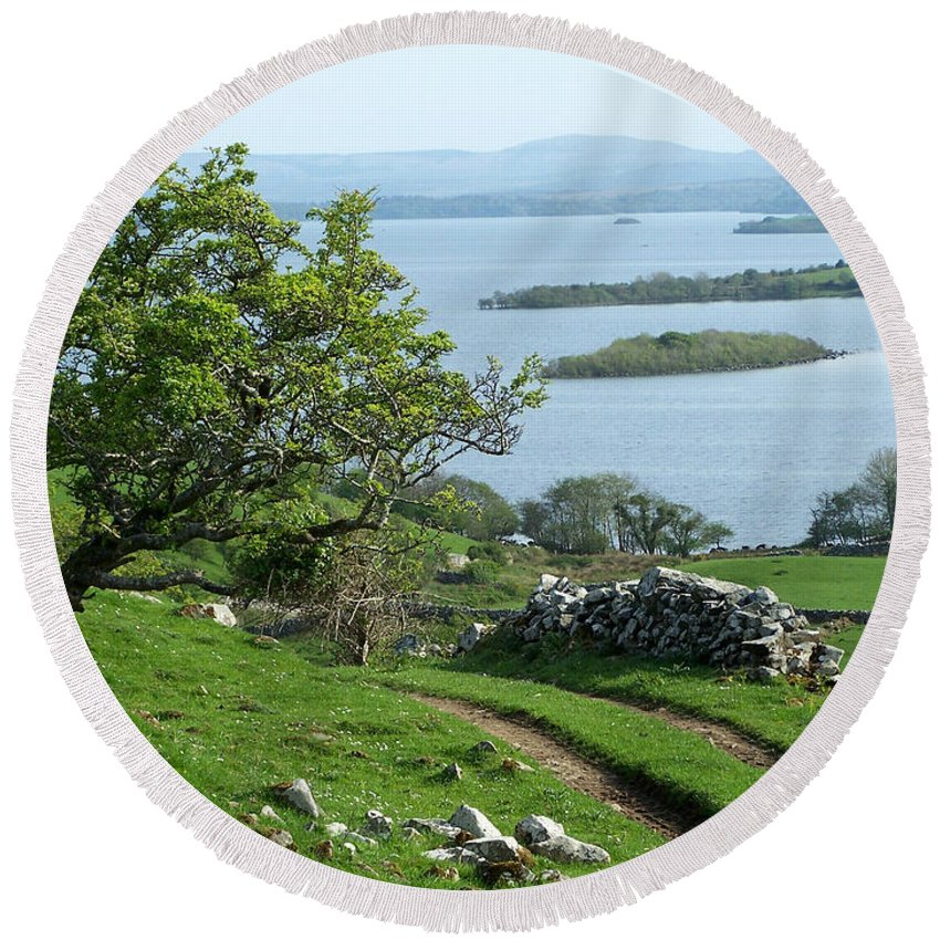 Ireland Round Beach Towel featuring the photograph May The Road Rise To Meet You by Teresa Mucha