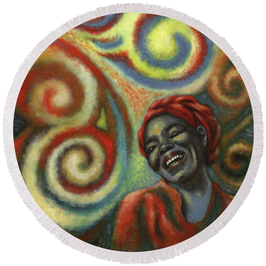 Maya Angelou Round Beach Towel featuring the painting The Test Of Man by Terri Shewczyk