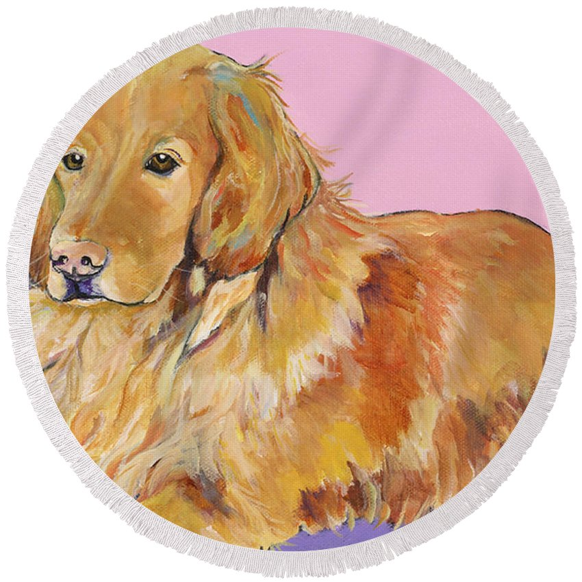 Golden Retriever Round Beach Towel featuring the painting Maya by Pat Saunders-White