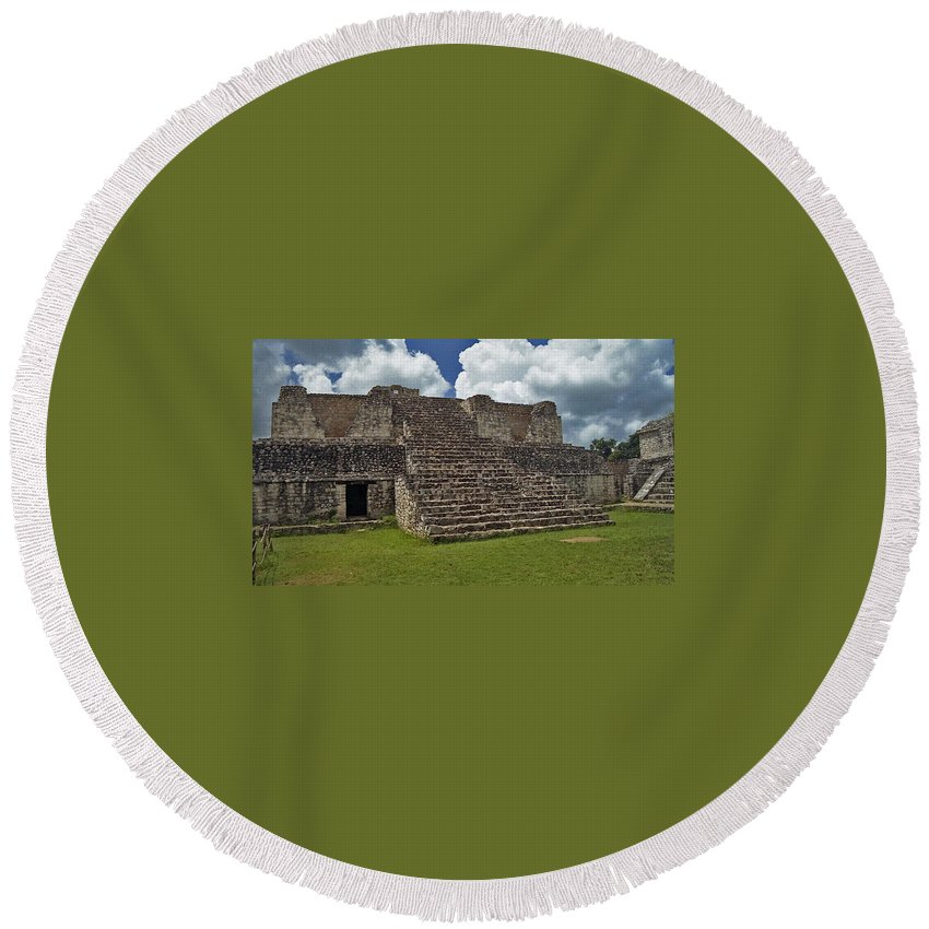 Mayan Round Beach Towel featuring the photograph Mayan Ruins 2 by Michael Peychich