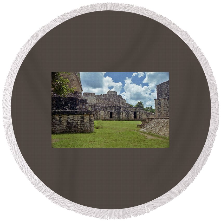 Mayan Round Beach Towel featuring the photograph Mayan Ruins 3 by Michael Peychich