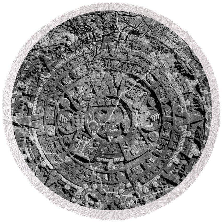 Mayan Round Beach Towel featuring the photograph Mayan Rule by Roving Nomad
