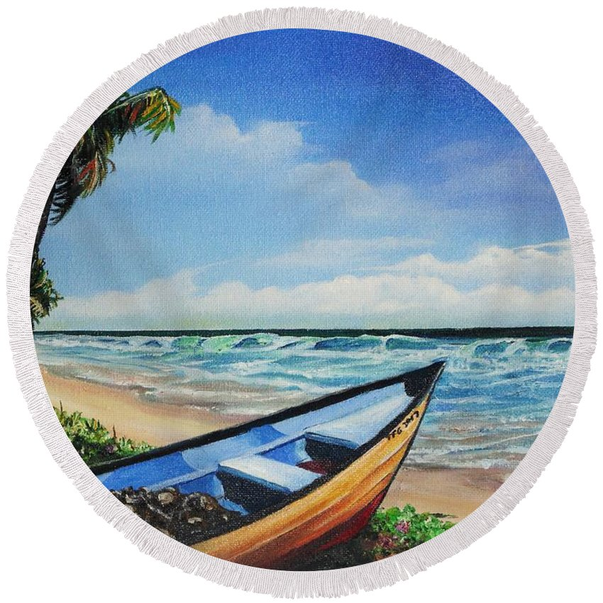 Trinidad And Tobago Beach Round Beach Towel featuring the painting Mayaro Beach by Karin Dawn Kelshall- Best