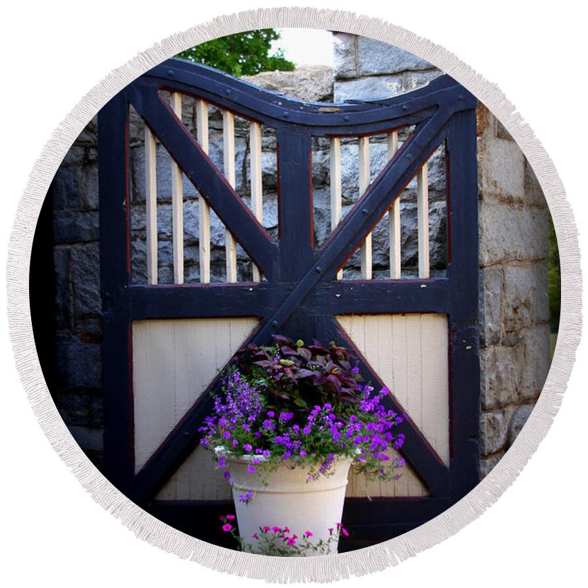 Maymont Round Beach Towel featuring the photograph Maymont Gate by Tina Meador