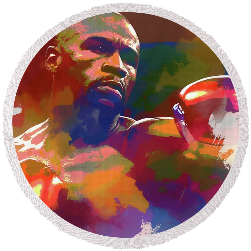 Mayweather Watercolor Round Beach Towel featuring the painting Mayweather Watercolor by Dan Sproul