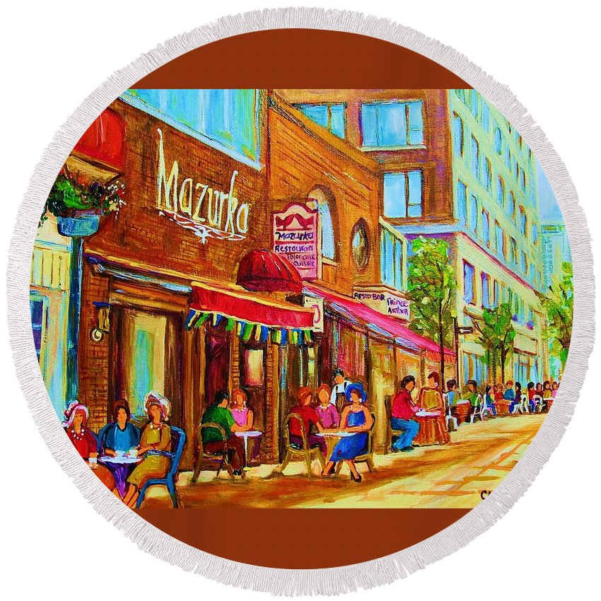Montreal Streetscene Round Beach Towel featuring the painting Mazurka Cafe by Carole Spandau